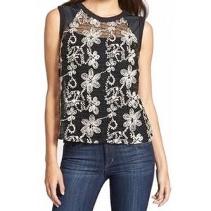 Search For Sanity embroidered Floral Lace Top L 10